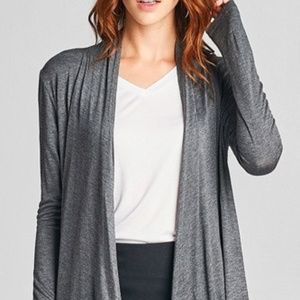 Sweaters - Lightweight knit open-jersey Cardigan, Charcoal
